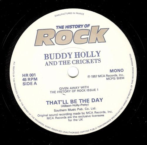 BUDDY HOLLY That'll Be The Day Vinyl Record 7 Inch French History Of Rock 1980
